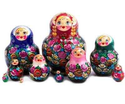 Nesting Dolls Matryoshka Made in Russia Hand Painted Russian Doll 10 pcs 5""