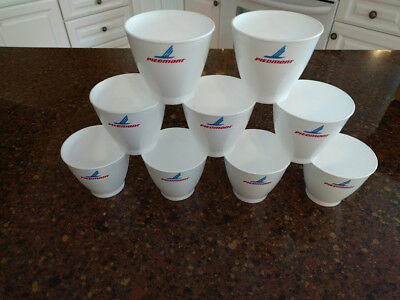 """Vintage Piedmont Airlines Styrofoam """"China-Therm"""" cups - 9 cups"""