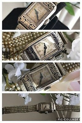 1930's Ladies Art Deco 14K Black Enamel Elgin Watch~Faux Seed Pearl Band~Runs