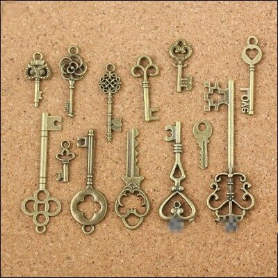 New 13 Assorted Antique Vintage Old Look Bronze Pendants Vintage Key Collectible