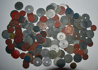 16. Lot Of 150 War Era + Tax Tokens, 8 States + Blue, Red Opa Tokens + Dupes