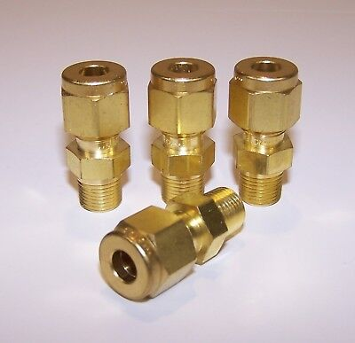 "(4pcs) Swagelok P/N B-400-1-2 Str Male Connector Brass - 1/4"" OD Tube to 1/8""NPT"