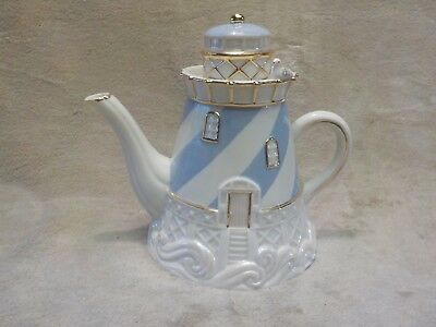 porcelain lenox seaside teapot lighthouse with seagull minty no box gold trim