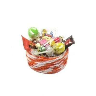 WMH Dollhouse Miniature Halloween Trick or Treat Candy Filled Bowl Pink Taffy