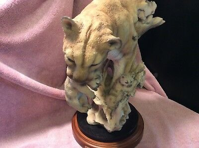 "MILL CREEK STUDIOS Randall Reading ""JOURNEY HOME"" Cougar & Cubs Large Sculpture"