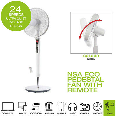 NSA Eco Pedestal Fan with Remote Control /& Timer SFDC-40101RC Ultra Quiet Fan