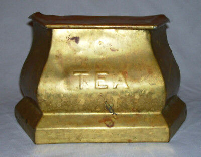 "R.Greenlees & Co. ~ Antique Brass ""TEA"" Caddy (Rd 461356) ~ Glasgow, Scotland"