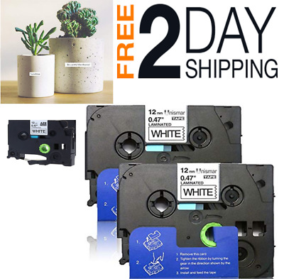 Black on White Laminated P-Touch Label Tape Compatiblbe for Brother TZ231 12mm