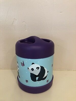 NEW Pottery Barn Kids AQUA Panda HOT COLD Food Storage Container Jar thermos