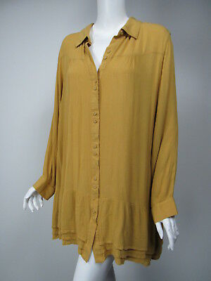 11b51965a32 SOFT SURROUNDINGS Dijon Yellow Crinkled Tiered Hem Button Front Tunic Top  sz 2X