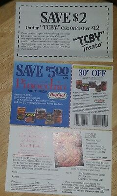 LOT OF 3 DISCONTINUED COUPONS CIRCUS FUN VINTAGE TCBY Pinocchio Adventures Spam