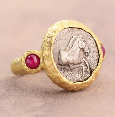 Ancient Greek Silver Horse Coin 470-460 B.C. in Solid 18KT Gold Ring w/Rubies