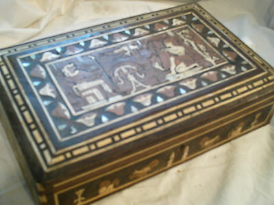 Rare Antique Wooden Inlaid Mother Of Pearl Etc, Egyptian Style Box