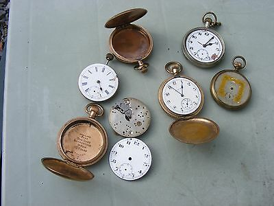 Collection Of Antique Pocket Watches Spares Or Repair