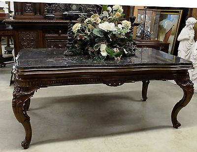 Antique Country French Hand Carved Walnut Marble Top LouisXV Dining Table C1890