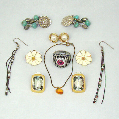 7 Piece Mixed Lot Of Jewelry Vintage and Modern Estate Fashion Eye Ring Etc