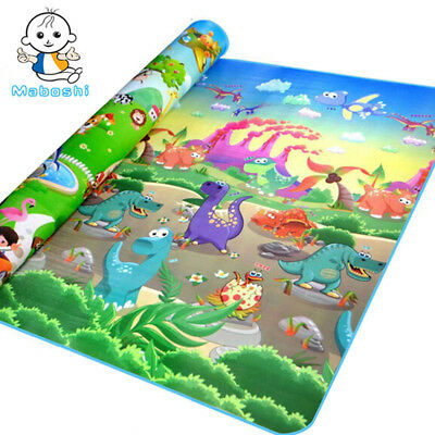 Double-Sides Kids Play Mat Dinosaur And Happy Zoo Design Child Picnic Beach Mat