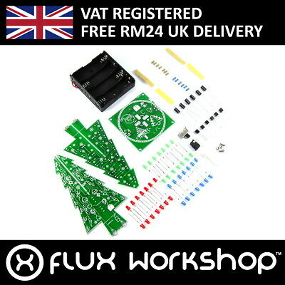 LED Snowflake Christmas Tree DIY Kit XMAS Unsoldered Practice Gift Flux Workshop