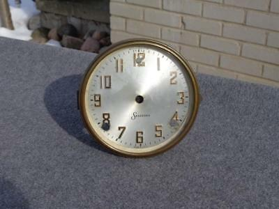 Sessions Chime Clock Silver Dial Brass Bezel Convex Glass Original Antique Parts