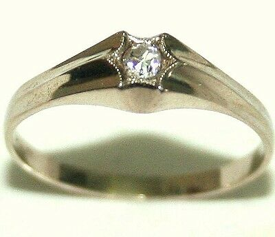 ANTIQUE ART DECO 14k WHITE GOLD DIAMOND SOLITAIRE BEAUTIFUL ENGAGEMENT RING