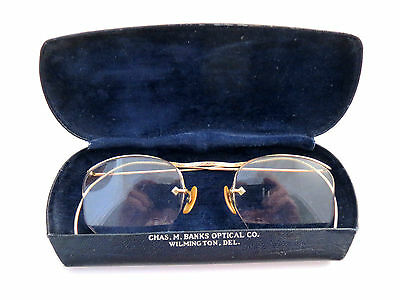American Optical AO 1/10 12K GF Gold  Antique Spectacles Eyeglasses Fulview