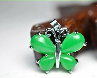 Fine Malay jade pendant green butterfly shape