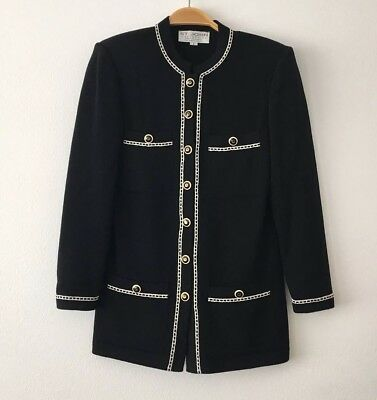 St John Collection by Marie Gray Black Santana Knit Jacket Blazer Size 2