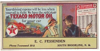 Texaco motor oil ink blotter -  South Brookline, NH