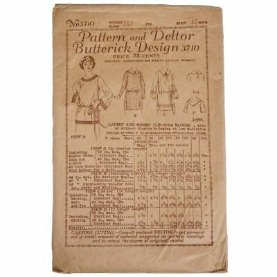 Vintage 1910s Butterick Pattern Ladies Blouse 3710 Complete Size 40 Bust