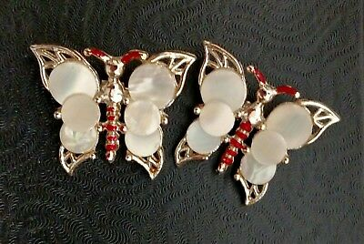 Mother of Pearl Brooches Butterfly Scatter Pins Red Enamel Gold Tone Set Two