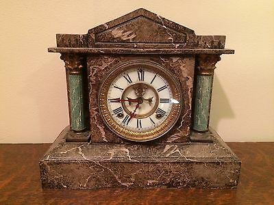 ANSONIA 8-Day Mantle Clock Open Escapement XL 22 Lbs Working RARE ~FINE ANTIQUE