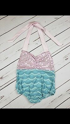 Baby Girl Mermaid Bathing Suit Bowknot Girl Clothes Pink And Blue