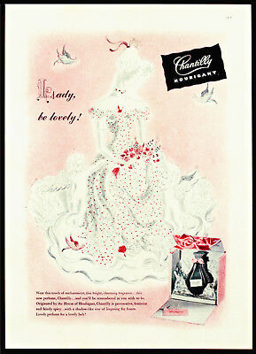 1944 HOUBIGANT CHANTILLY PERFUME French Fragrance Vtg Beauty Cosmetics PRINT AD