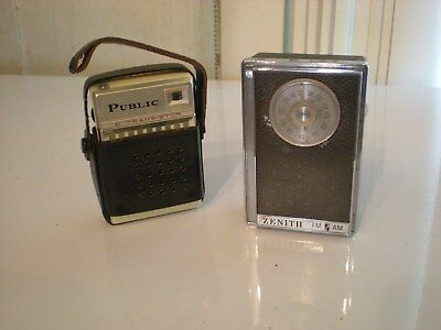 Two vintage transistor pocket radios, one AM & one AM/FM, both work!