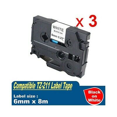 3x TZ211 Laminated Label tape for Brother P-touch PT-900 PT-1000 PT-1010 PT-1090