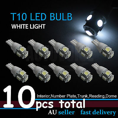 10x T10 194 168 5LED Light W5W White Wedge Interior Dome Map Parker License Bulb