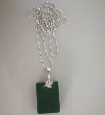 Code 806 Malachite Infused rectangular Necklace Archangel Michael Spiritual