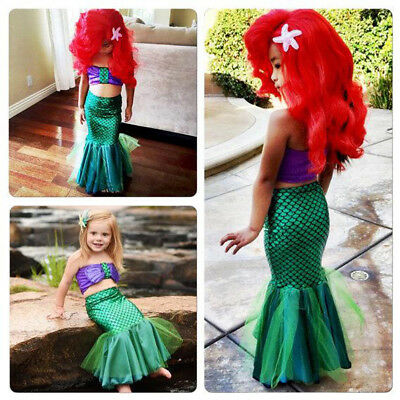 Kids Ariel Little Mermaid Set Girl Princess Fancy Dress Party Cosplay Costume