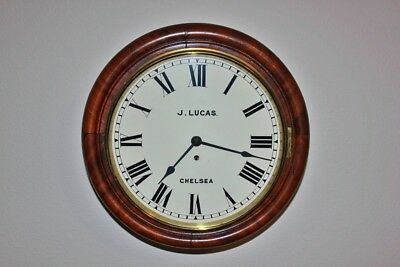 "Antique English Fusee Round Mahogany 12"" Dial Wall Clock for J. Lucas, Chelsea"