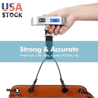 Portable Balance LCD Electronic Digital Hook Hang Luggage Scale Weight 110lb US