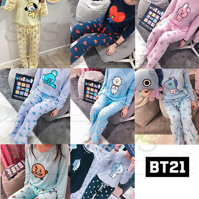BTS BT21 Official Authentic Goods Tjama Long Sleeve + pajama Pants SET Sleepwear