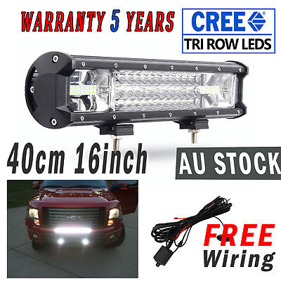 """NEW 15"""" Cree LED Work Light Bar Spot Flood  512W Offroad Driving 16"""" Free Wiring"""