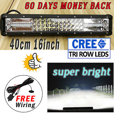 """16"""" Tri-Row LED Work Light Bar Combo Driving For JEEP Offroad 4X4WD+Wiring 15"""""""