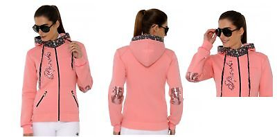 Spooks Jacket Flori pink icing, Sweatjacke, m. Kapuze und Patches Gr. L SALE