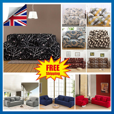1/2/3/4 Seater Easy Fit Sofa Slipcover Stretch Protector Soft Couch Cover Floral
