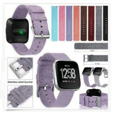For Fitbit Versa Woven Fabric Wrist Strap Watch Band w/ Classic Stainless Buckle