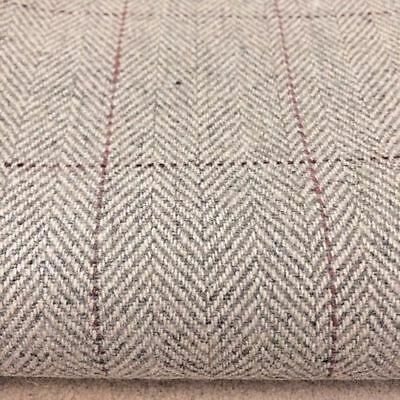 GREY TWEED CHECK FABRIC WOOL/POLYESTER. 150 cm wide