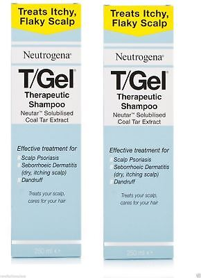 Neutrogena T/Gel Therapeutic Shampoo Itchy Flaky Scalp Psoriasis 250ml X 2