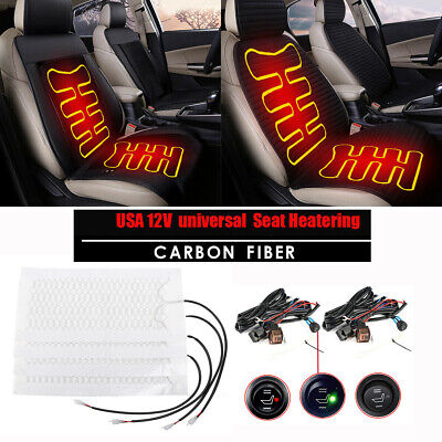 Seats Carbon Fiber Heated Seat Heater Kit Car Cushion - Round Switch 12v US