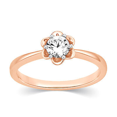 IGI 0.33 Ct Round Cut SI2 Real Diamond 14k Rose Gold Solitaire Engagement Ring